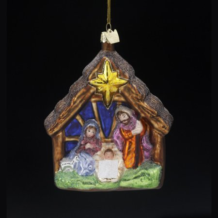 4 noble gems blown glass religious holy family nativity christmas ornament