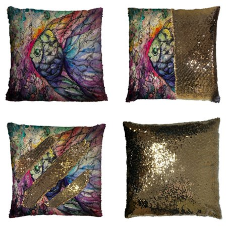 GCKG Abstract art Ocean Animal Pillowcase, Fish on the Coral Reef Reversible Mermaid Sequin Pillow Case Home Decor Cushion Cover 16x16 inches