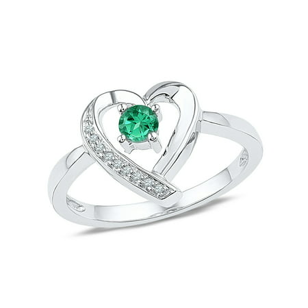 Lab Created Emerald Heart Promise Ring 1/4 Carat (ctw) in Sterling Silver - Lab Created Emerald Ring