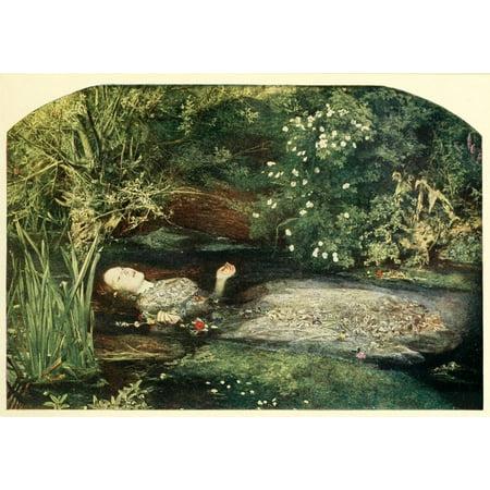 Millais Painting Ophelia - History of Painting 1900 Ophelia Stretched Canvas - John E Millais (24 x 36)