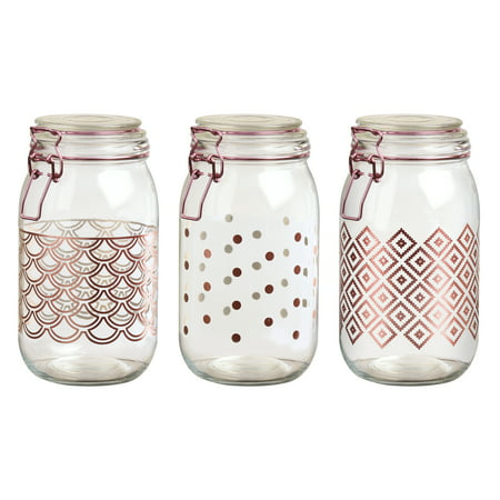 Pasadena Rose Gold Hermetic Preserving Canisters, Assorted Set of 3