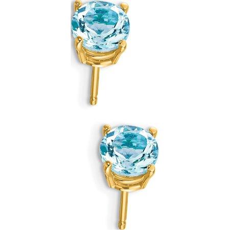Boucles d'oreilles en or jaune 14k (Aquamarine) de 6x6mm - image 2 de 3