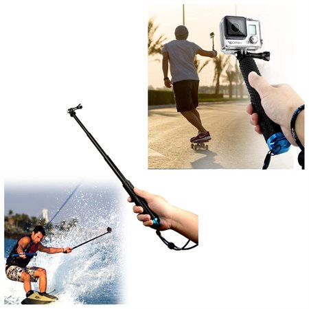 agptek portable aluminum alloy selfie stick monopod pov pole with rubber grip handle for gopro. Black Bedroom Furniture Sets. Home Design Ideas