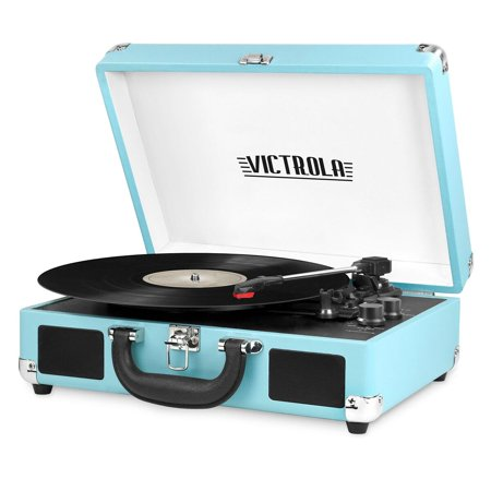Portable Victrola Suitcase Record Player With Bluetooth And 3 Speed Turntable  Turquoise