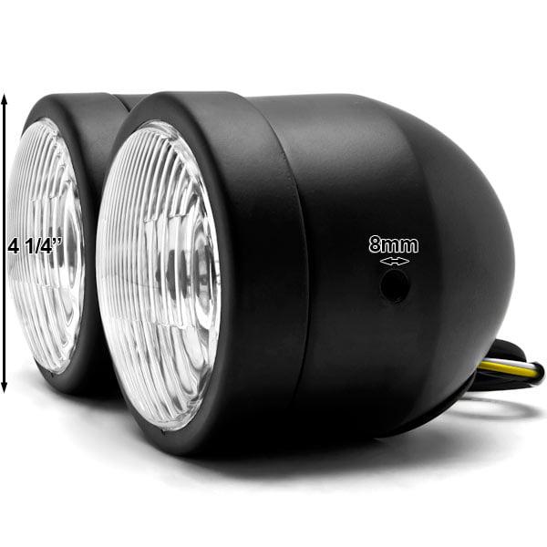 Black Twin Headlight Motorcycle Double Dual Lamp For Suzuki Boulevard C109R C50 C90 - image 4 de 6