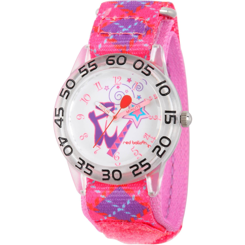 Red Balloon Girls' Plastic Time Teacher Watch, Purple Nylon Strap