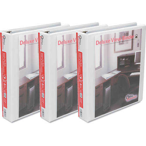 """Office Impressions Round-Ring Vinyl View Binder, White, 1.5"""", 3-Pack"""