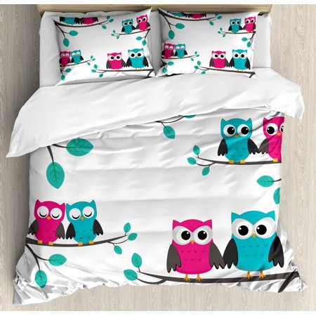 Nursery Duvet Cover Set, Couples of Owls Sitting on Spring Branches Cute Funny Cartoon Characters, Decorative Bedding Set with Pillow Shams, Turquoise Blue Pink, by Ambesonne ()