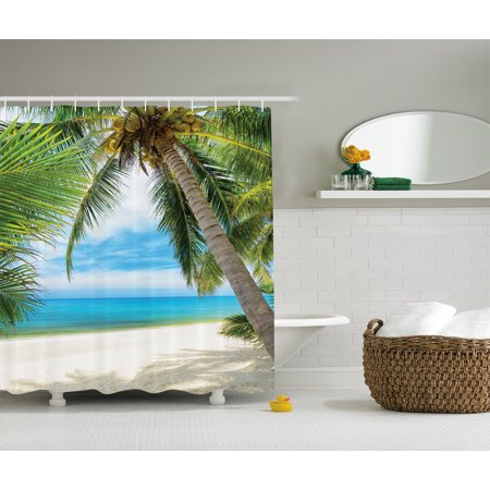 Ocean Decor  Shadow Shade Of A Coconut Palm Tree On White Sand  Bathroom Accessories  69W X 84L Inches Extra Long  By Ambesonne