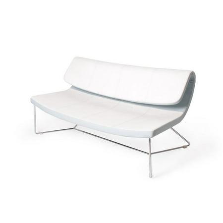 J&M Furniture White Eco-Leather Hollywood Sofa Stitching Detailing Modern ()
