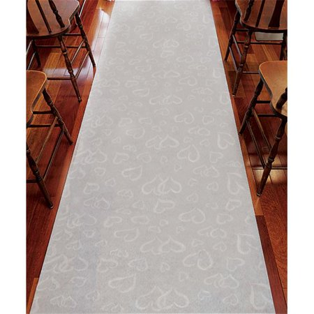 Weddingstar 9301 Aisle Runner - White With All Over Heart Design - White With Hearts