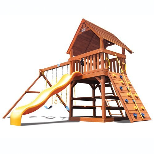 Superior Play Systems Original Fort with Wood Roof Swing Set