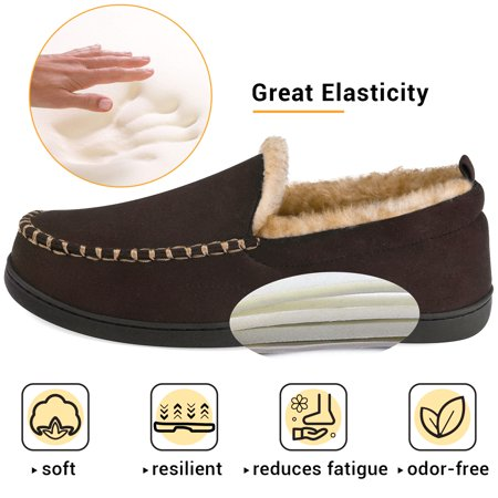 VONMAY Men's Moccasin Slippers Fuzzy House Shoes Fluffy Fur Home Warm Memory Foam Indoor Outdoor