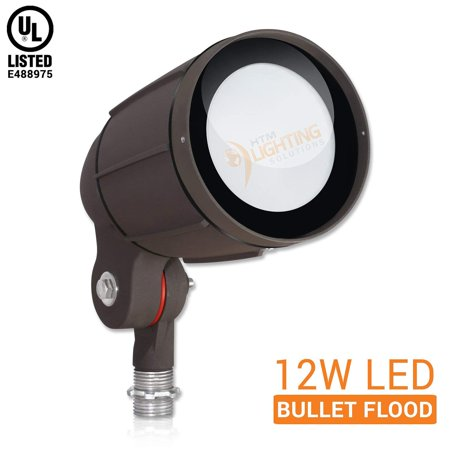 "12W LED Bullet Flood Light for Landscape Lighting - ½"" NPT Thread Adjustable - 1200lm - 100-277VAC - IP65 Rated Wet Location UL Listed - Bronze Finish - 5000K Cool White - 30° Tight Distribution"