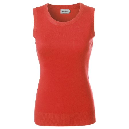 FashionOutfit Women's VISCOSE Solid Office Career Soft Stretch Sleeveless Knit Top