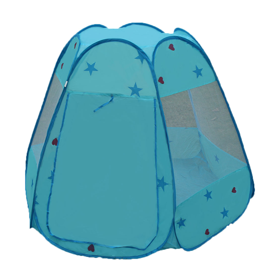 Indoor Stars Heart Pattern Foldable  Toy House Tent Light Blue