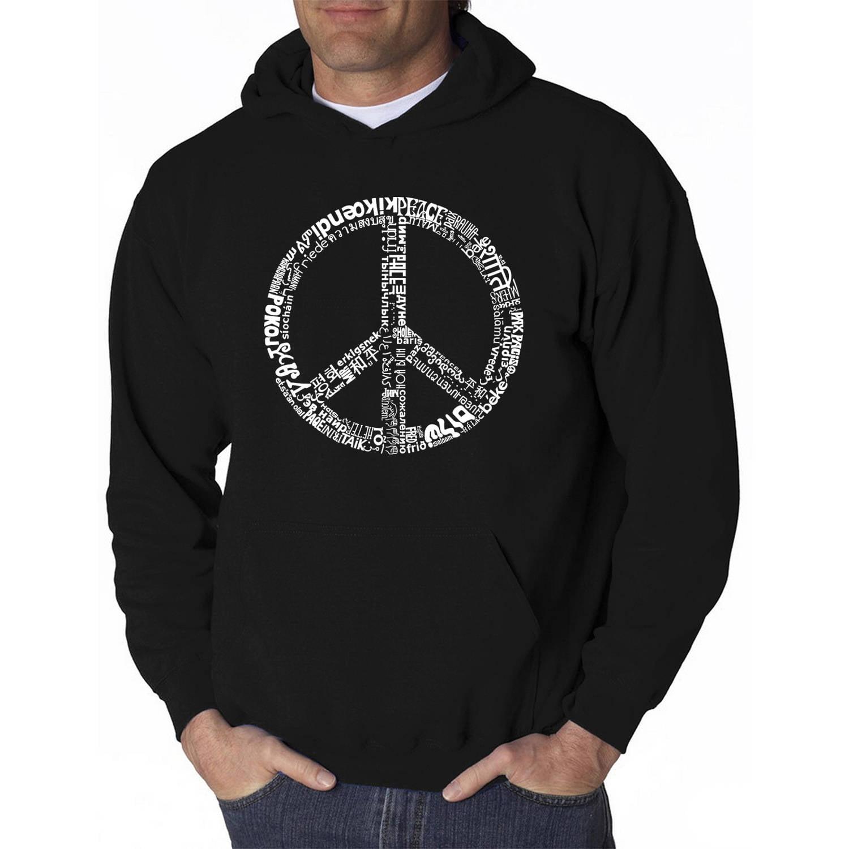 Los Angeles Pop Art Men's Hooded Sweatshirt - The Word Peace in 77 Languages