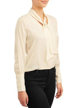 Love Sadie Women's Shiny Tie Neck Blouse