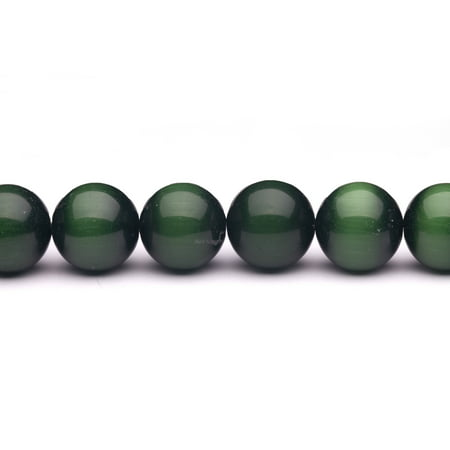 Emerald Green Cat's Eye Beads Round Fiber Optic Glass Beads 20mm 6pcs - Green Beads
