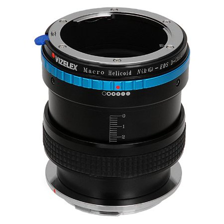 Vizelex Macro Focusing Helicoid for Nikon G and DX Lenses to Canon EOS DSLR Camera Body - Variable Magnification Helicoil with Built-in, De-Clicked Aperture Dial for Nikon G and DX type Lens ()