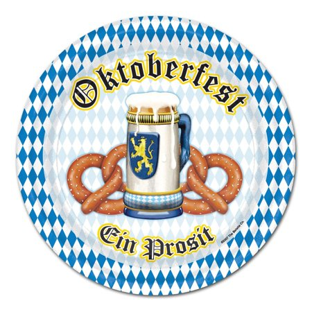 """Pack of 96 Disposable Blue and White Oktoberfest Decorative Dinner Plates 9"""""""