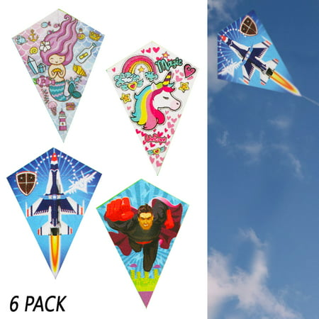 6 Pack Diamond Kite Easy Flyer Kids Outdoor Games Fun Beach Park Fly Plastic Toy](Kites Are Fun)
