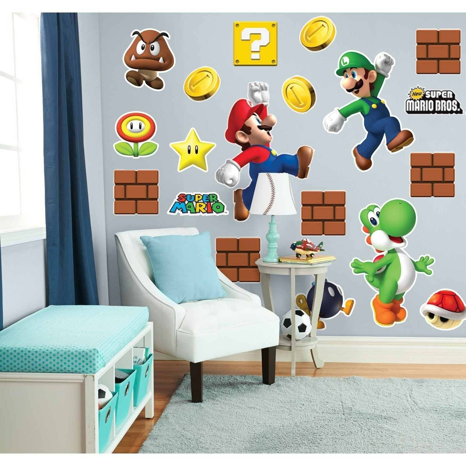 Super Mario Bros Mario, Luigi and Yoshi Giant Wall Decals Combo Kit