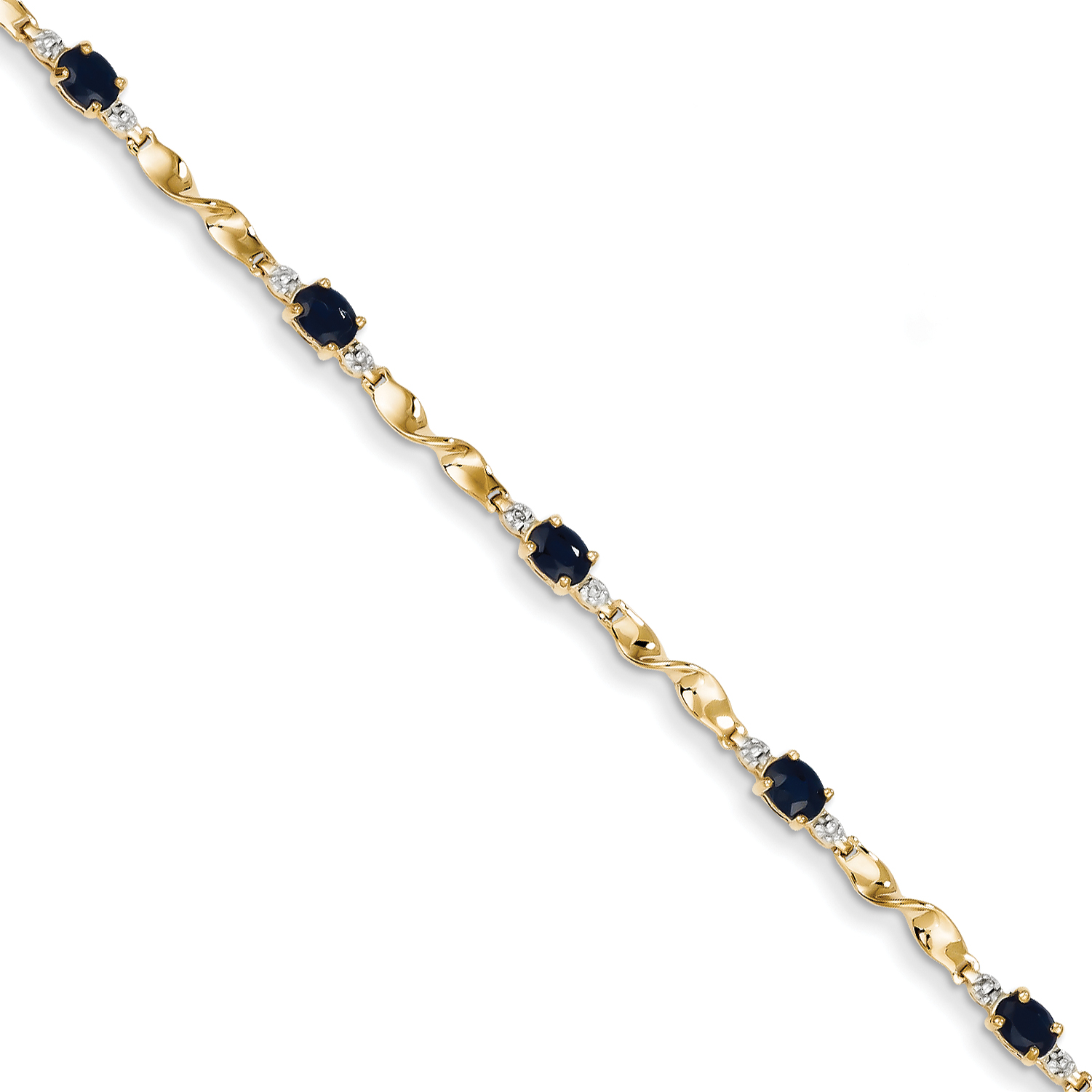 14k Yellow Gold Diamond and Sapphire Oval Bracelet by