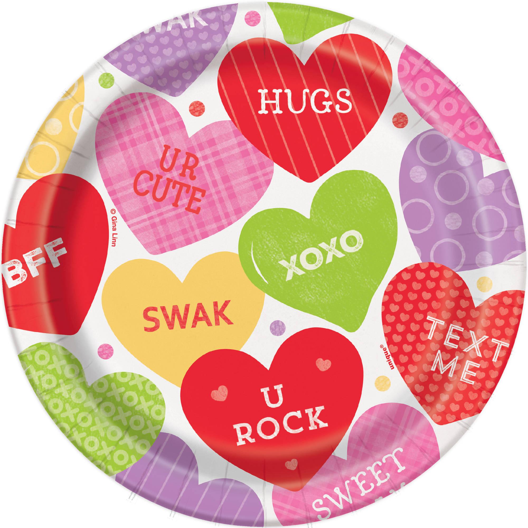 "7"" Candy Valentine's Day Paper Dessert Plates, 8ct"