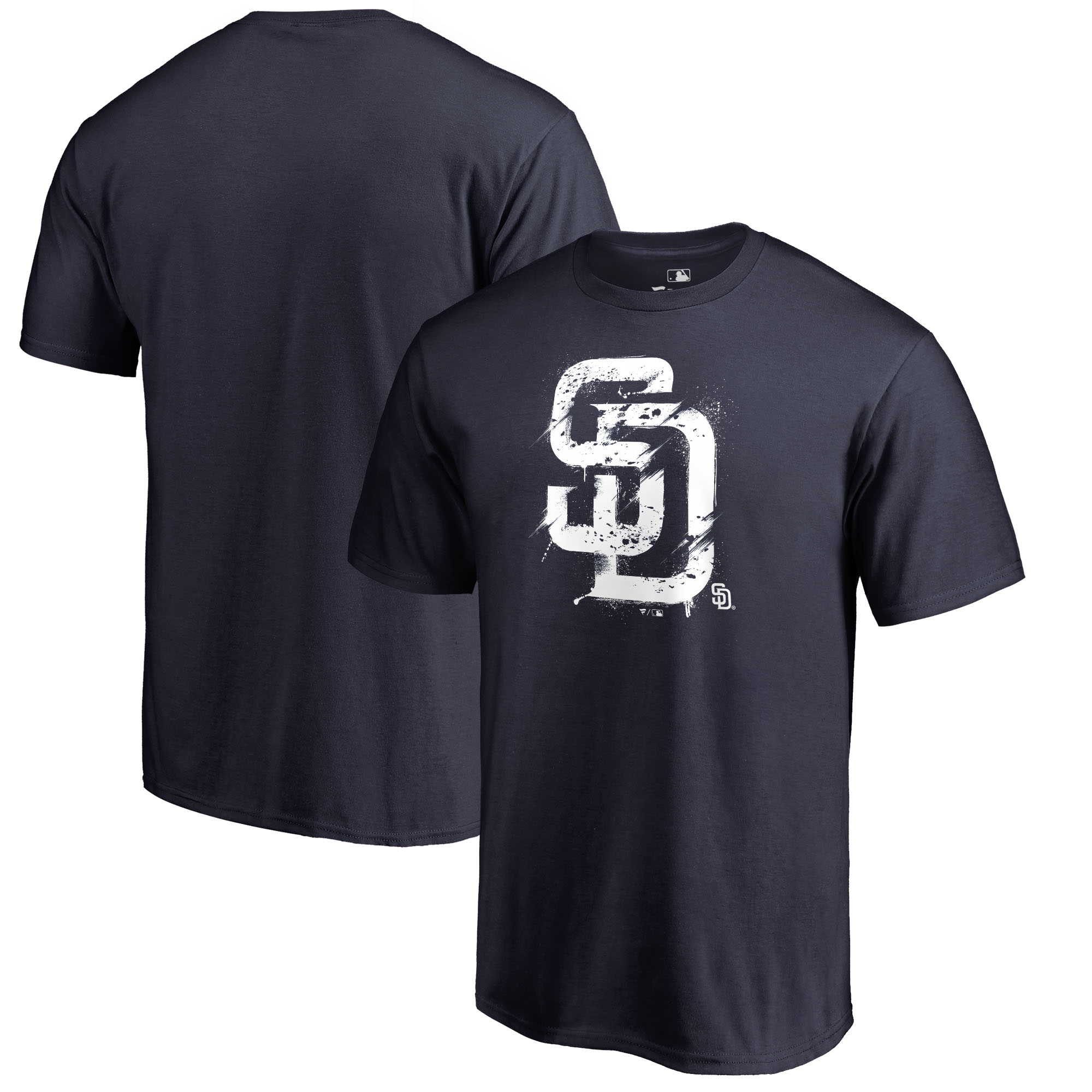 San Diego Padres Fanatics Branded Splatter Logo Big and Tall T-Shirt - Navy