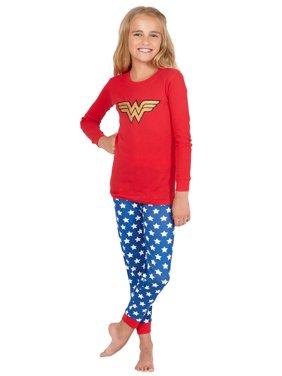 Intimo Girls' Wonder Woman Glitter Logo Pajama Set