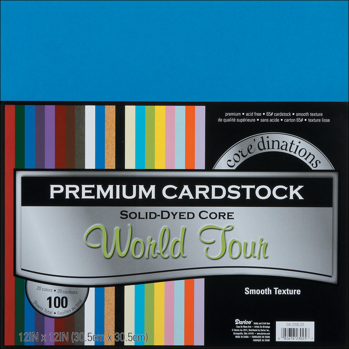 "Core'dinations Value Pack Smooth Cardstock 12""X12"" 100/Pkg-World Tour Assortment"