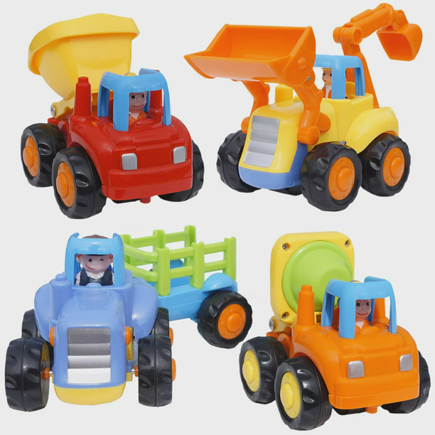 Friction Powered Cars Push And Go Toys Car Construction Vehicles Toys Set Of 4 Tractor Cement Mixer Bulldozer Dump Truck For Boys Baby Toddlers Kids Gift Walmart Com Walmart Com