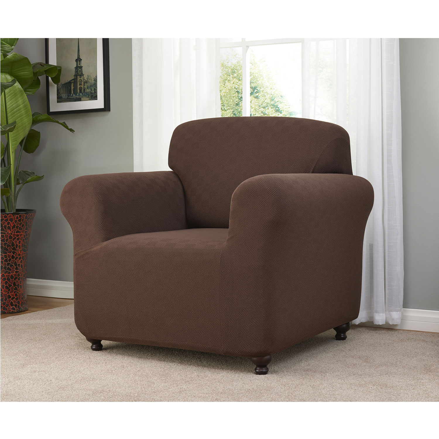 Madison Home Stretch Checkerboard Slipcover (Chair, Brown)