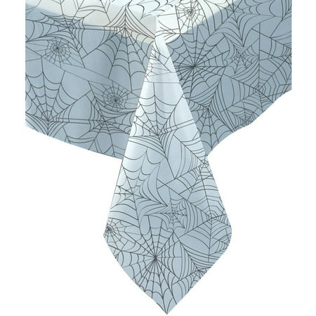 Spider Web Halloween Plastic Tablecloth, 108 x 54 in, Clear, 1ct](Table Setting For Halloween)