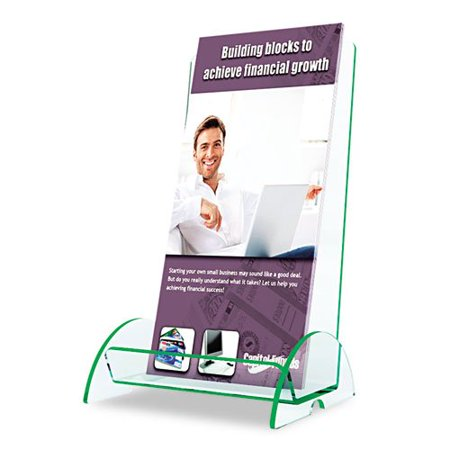 775383 Euro-Style DocuHolder, 4-1/2w x 3-3/4d x 8h, Clear, Durable and lightweight plastic literature holder with green tinted edges. By DeflectO Ship from US