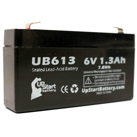UNIVERSAL BATTERY UB613 Battery Replacement - UB613 Universal Sealed Lead Acid Battery (6V, 1.3Ah, 1300mAh, F1 Terminal, AGM, SLA) - Includes TWO F1 to F2 Terminal Adapters - image 1 of 4