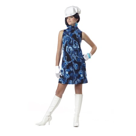 Teen Mod Geometric Retro Hippie Go Go Girl Halloween Costume Jr. 3-5 - Teen Hippie