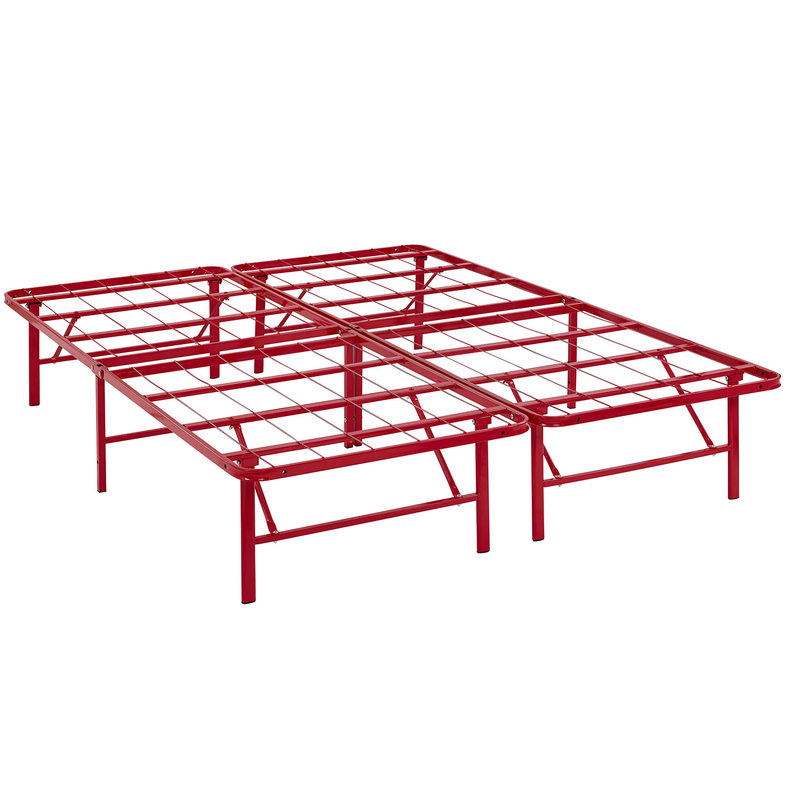 Modern Contemporary Urban Design Bedroom Full Size Platform Bed Frame, Red, Metal Steel