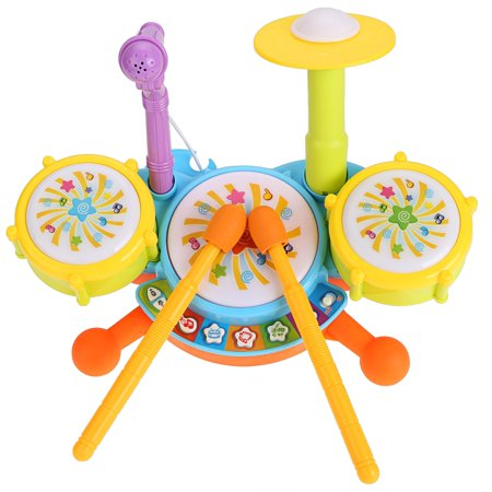 Music Toy Electric Beats Jazz Drum Set Baby Boy Girl Multicolor