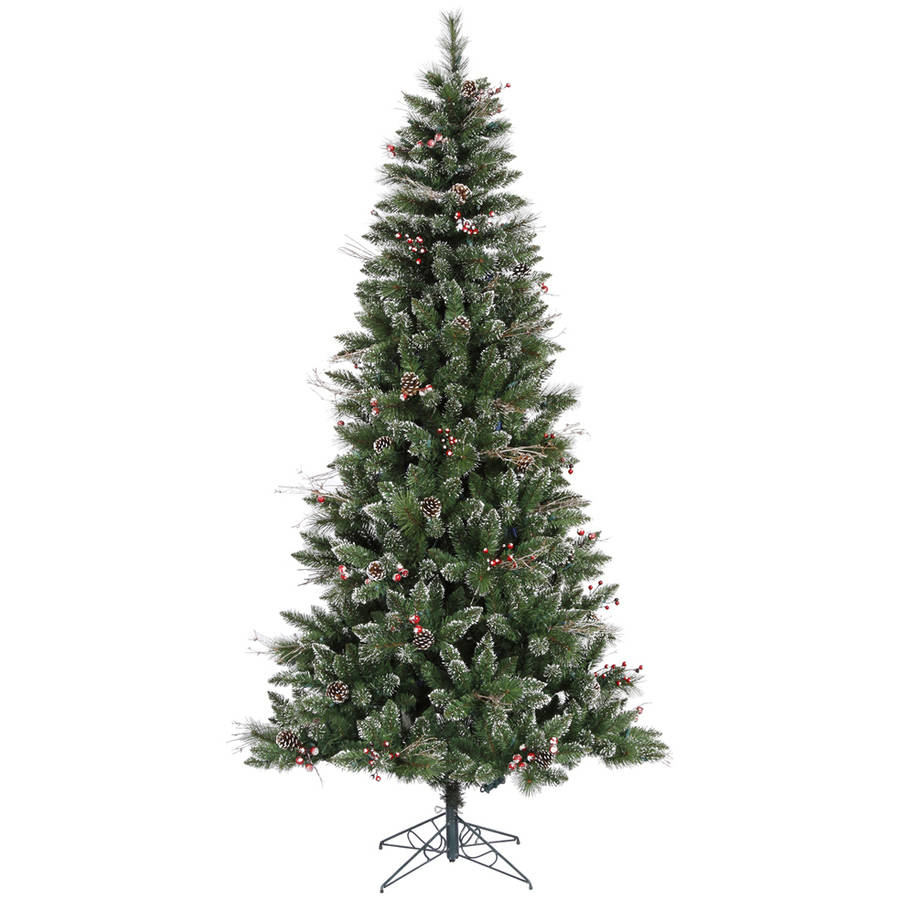 Vickerman 7' Snow Tipped Pine and Berry Artificial Christmas Tree, Unlit