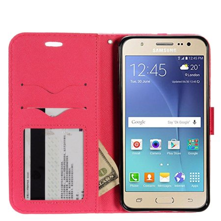 Samsung Galaxy J7 2016 Case, by Insten Cute Bear Stand Folio Flip Leather [Card Slot] Wallet Flap Pouch Case Cover For Samsung Galaxy J7 (2016), Pink - image 2 de 3