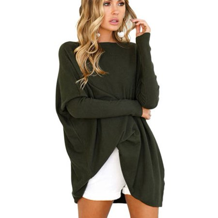 Women Oversized Batwing Sleeve Loose Blouses Jumper Mini Dress Sweatshirt Pullover Top (Misses Pullover Dress)