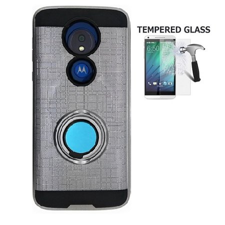 Phone Case for Motorola Moto G7 Power / Moto G7 Supra / Moto G Power 7th Gen(Not fit: Moto G7), Metal Texture Design Ring Stand Case + Tempered Glass Screen Protector (Silver-gray)