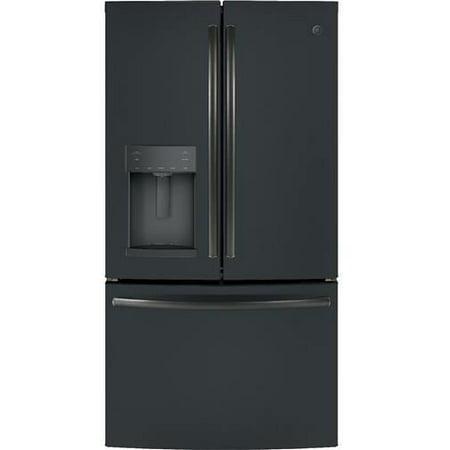 GFD28GELDS 36 Freestanding French Door Refrigerator with 27.8 cu. ft. Total Capacity  Door-in-Door  TwinChill Evaporators  Turbo Freezer  and 4 Spill Proof Split Glass Shelves  in Black Slate