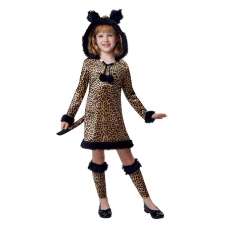 Brown Coat Costume (Girls Brown Witty Leopard Costume Cat Dress &)