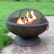 Sunnydaze Outdoor Firebowl Fire Pit with Handles and Spark Screen - 30-inch