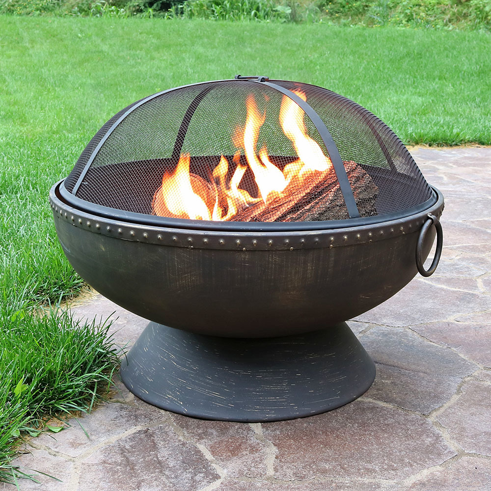 Sunnydaze 30 Inch Fire Bowl Large Outdoor Fire Pit with Handles and Spark Screen