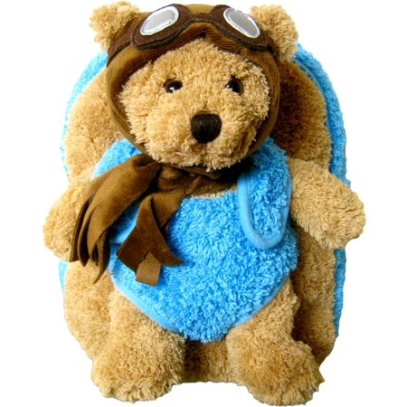 Childrens Super Soft Bags Blue Aviator Pilot Bear Plush Backpack (2pc - Pilot Wings Backpack