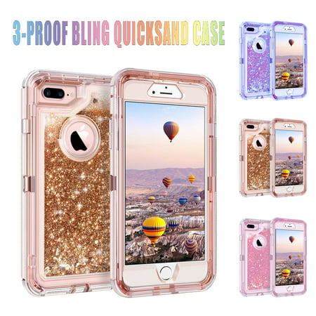 Magicfly Phone Cover Cases Hybrid 3-Layer Heavy duty Armor For iPhone 6 7 8 Plus X XS Max Glitter Liquid Shockproof Bling Quicksand